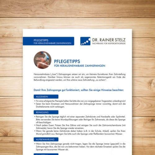 KFO Stelz | Dokument-Download Pflegetipps für herausnehmbare Zahnspangen