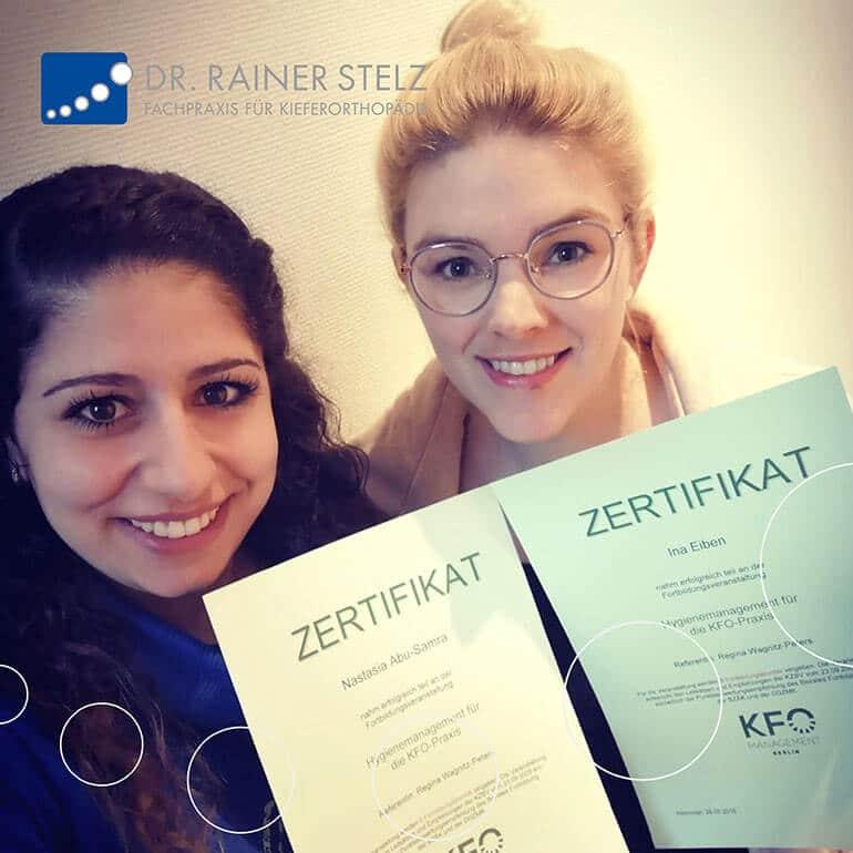 KFO Stelz | Fortbildungs-Zertifikat Frau Abu-Samra und Frau Eiben